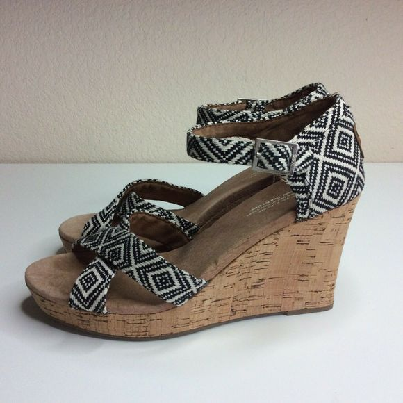 Toms Cork Wedge High Heels Black White Peep Toe